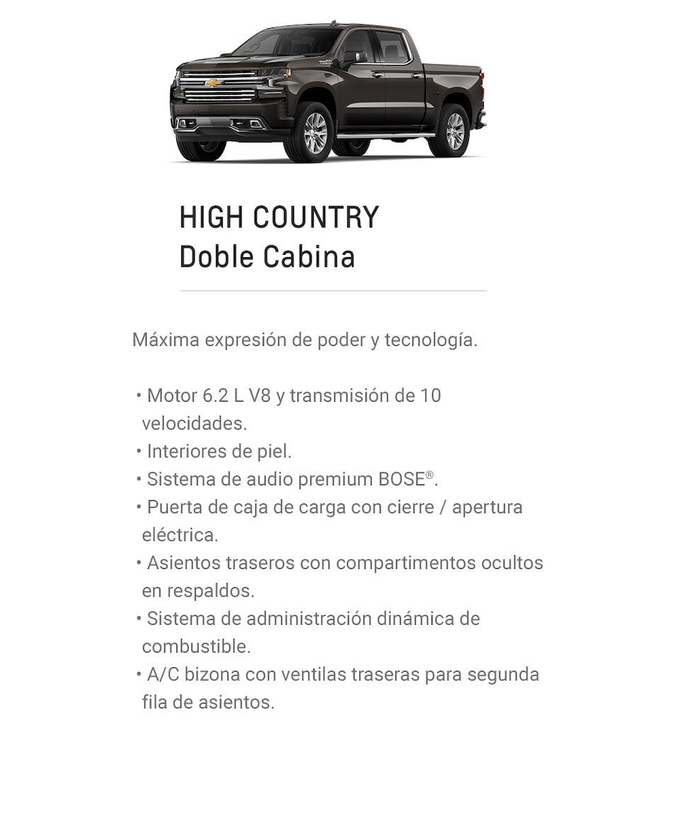 Chevrolet Cheyenne 2021, camioneta doble cabina versión High Country